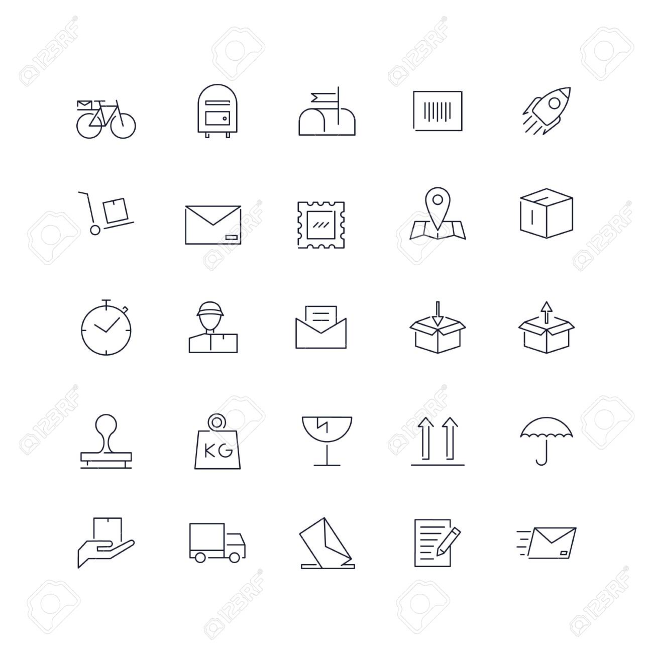 Line icons set. Post service web pack. - 139028925