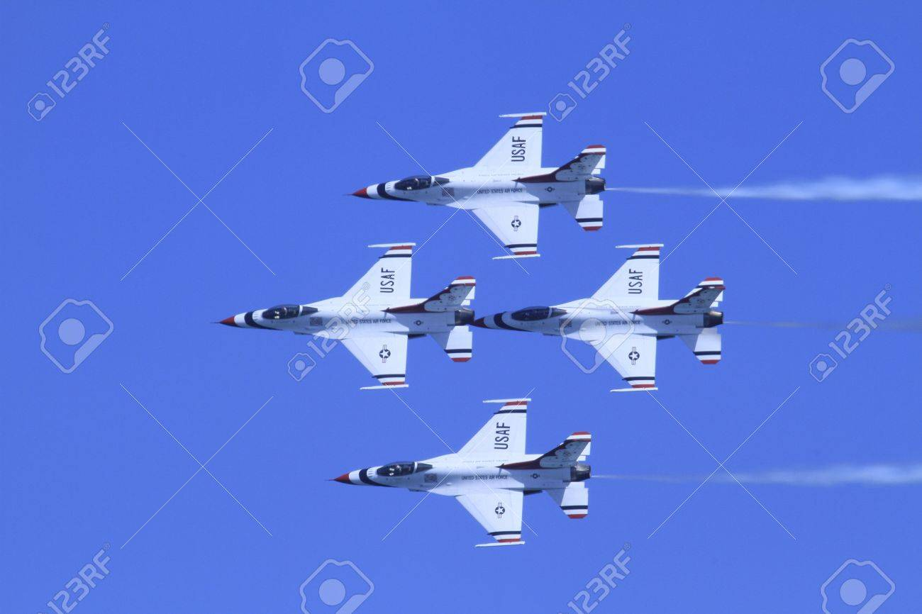US Air Force F-16s flying in formation at the Chicago Air Show 2011 Stock Photo - 14628484