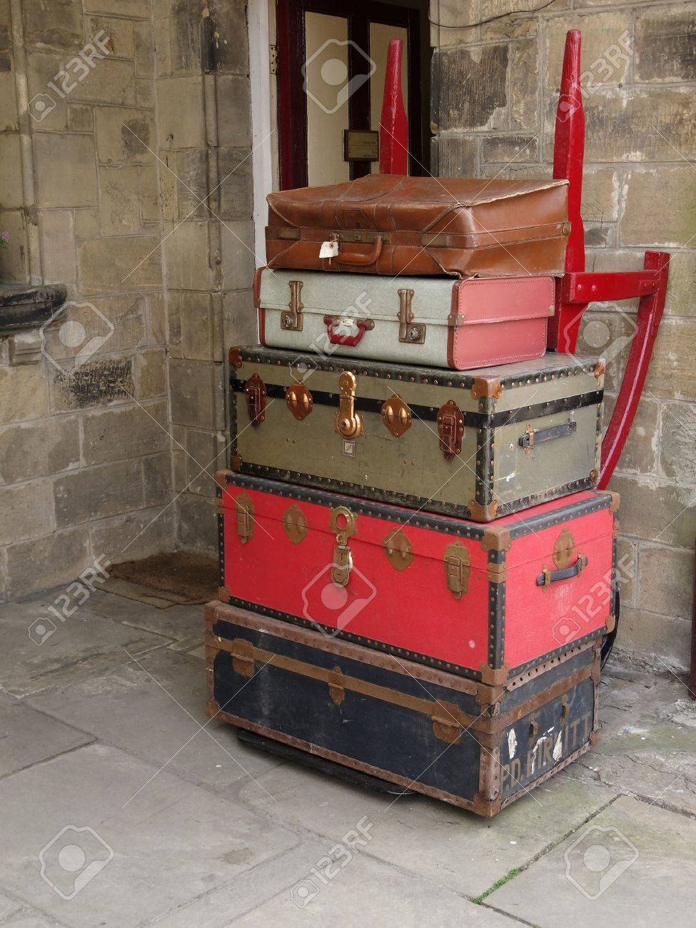 Old Suitcases Old Suitcases Stacked On A Trolley Stock Photo Picture And