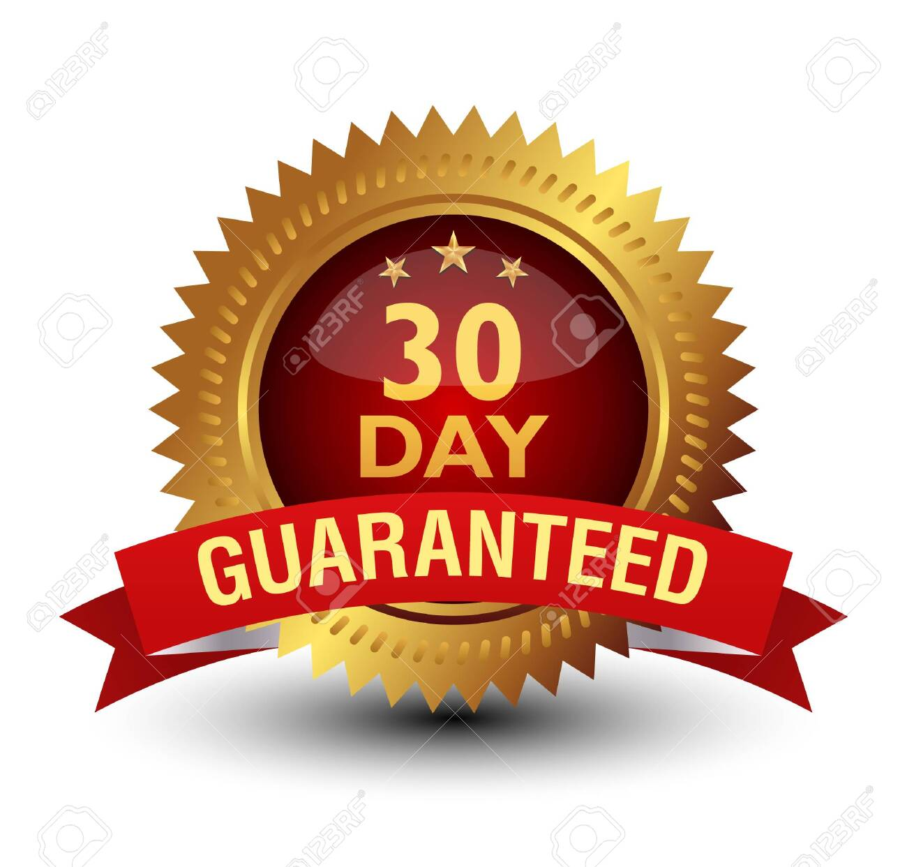 Royal and majestic 30 day money back guaranteed. Golden Red combined badge, isolated on white. - 152735590
