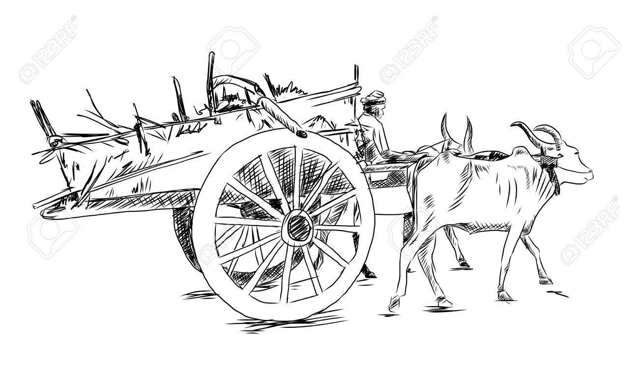 Hand drawn sketch of bullock cart in vector illustration