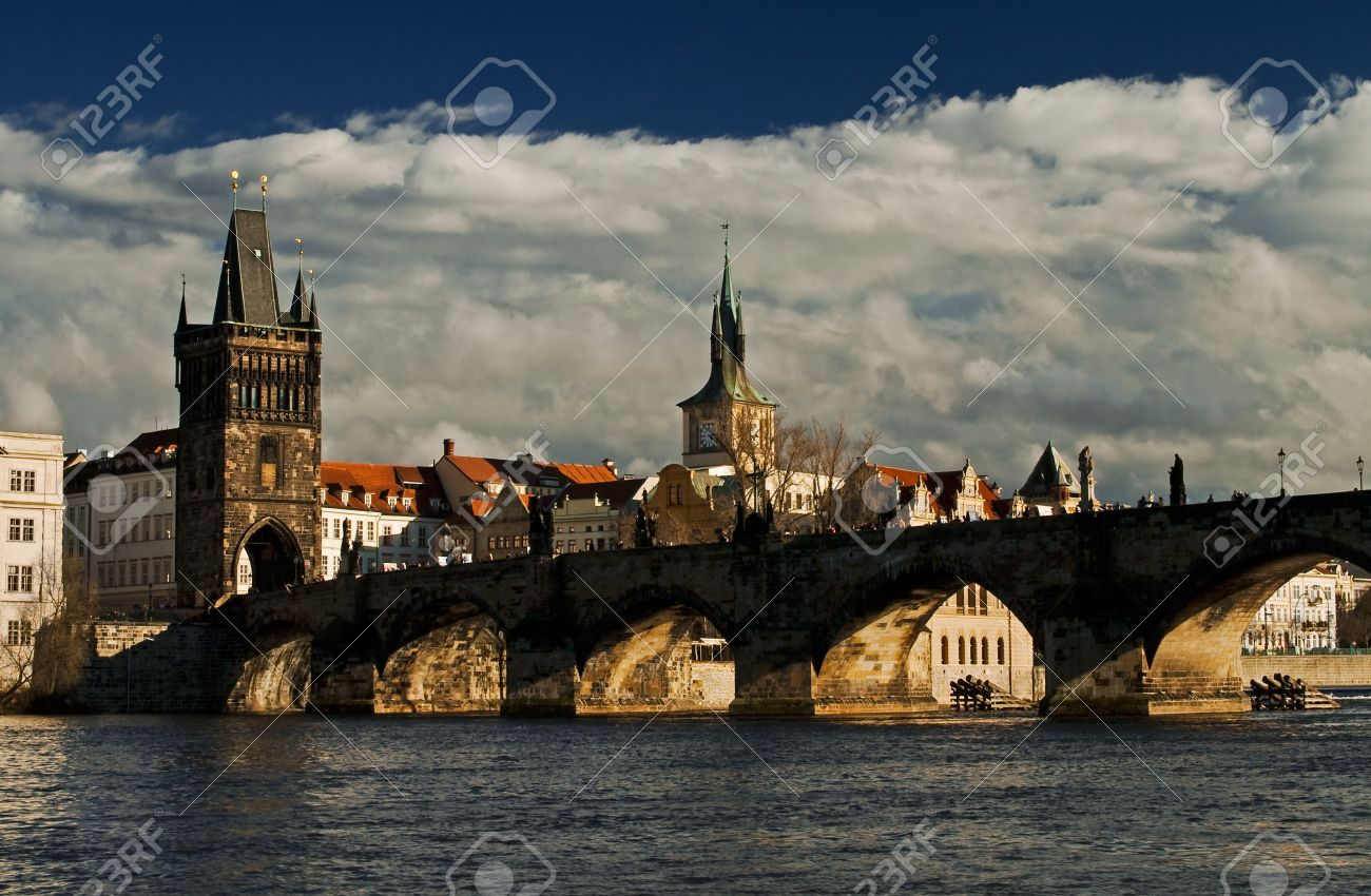 Photo of the Charles bridge in Prague, Czech republicFrom wiki: The Charles Bridge is a famous historical bridge that crosses the Vltava river in Prague, Czech Republic. Its construction started in 1357 under the auspices of King Charles IV, and finished Stock Photo - 7334039