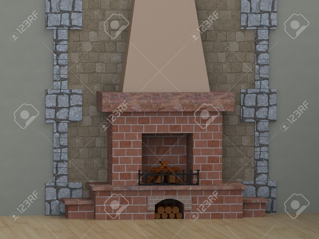 room with fireplace with shelves of brick wood do not burn stock