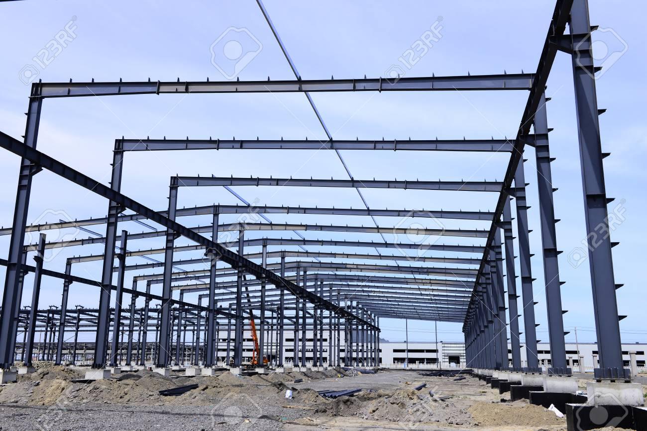 Steel Frame Construction Plant Under Construction Stock Photo ...