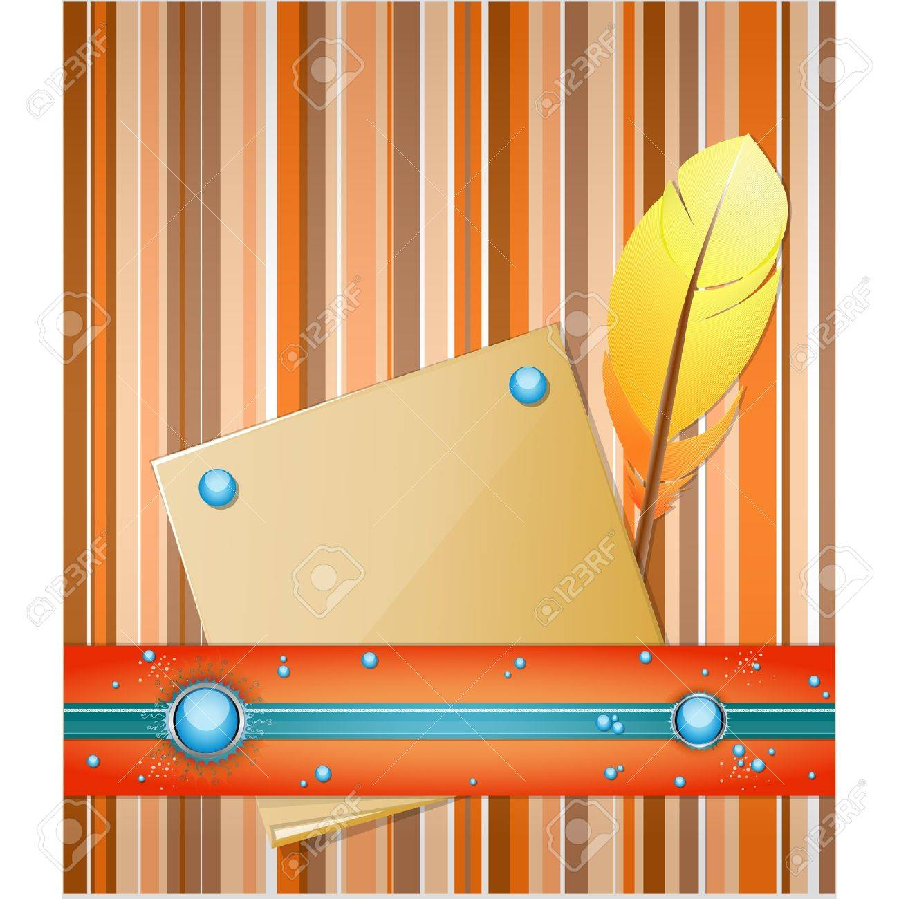 Orange - blue background with feather and paper.  Illustration 10 version Stock Vector - 17564539