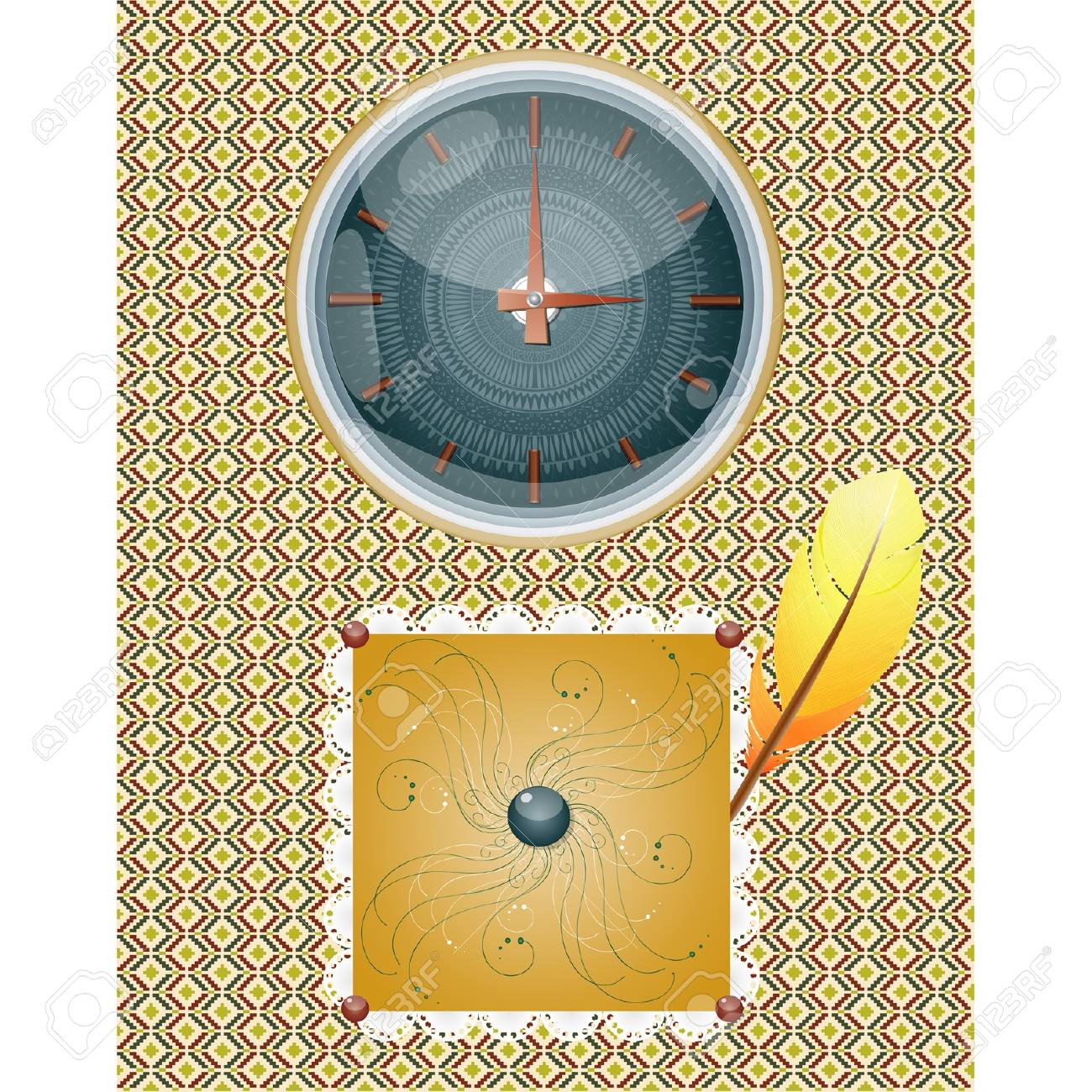 Retro background with clocks and feather. Illustration 10 version Stock Vector - 17805226