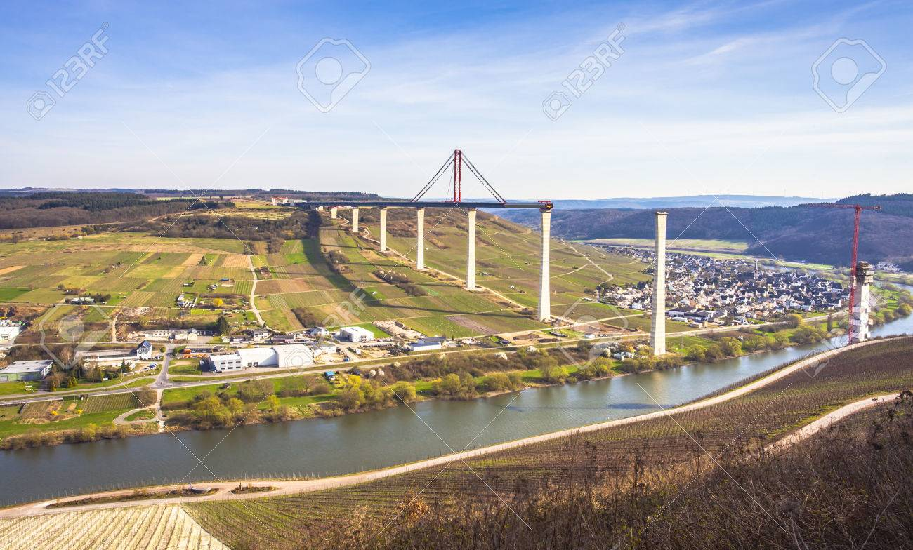 High Moselle Bridge construction side view over the Moselle valley