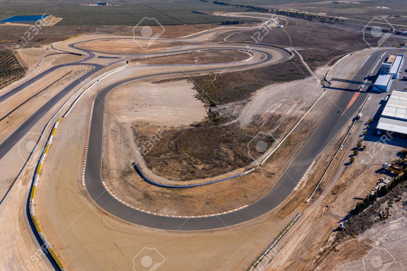 Andalusia Spain December 2020 Aerial view of the Circuito De Almeria Race Track in the Tabernas Desert - 165012384