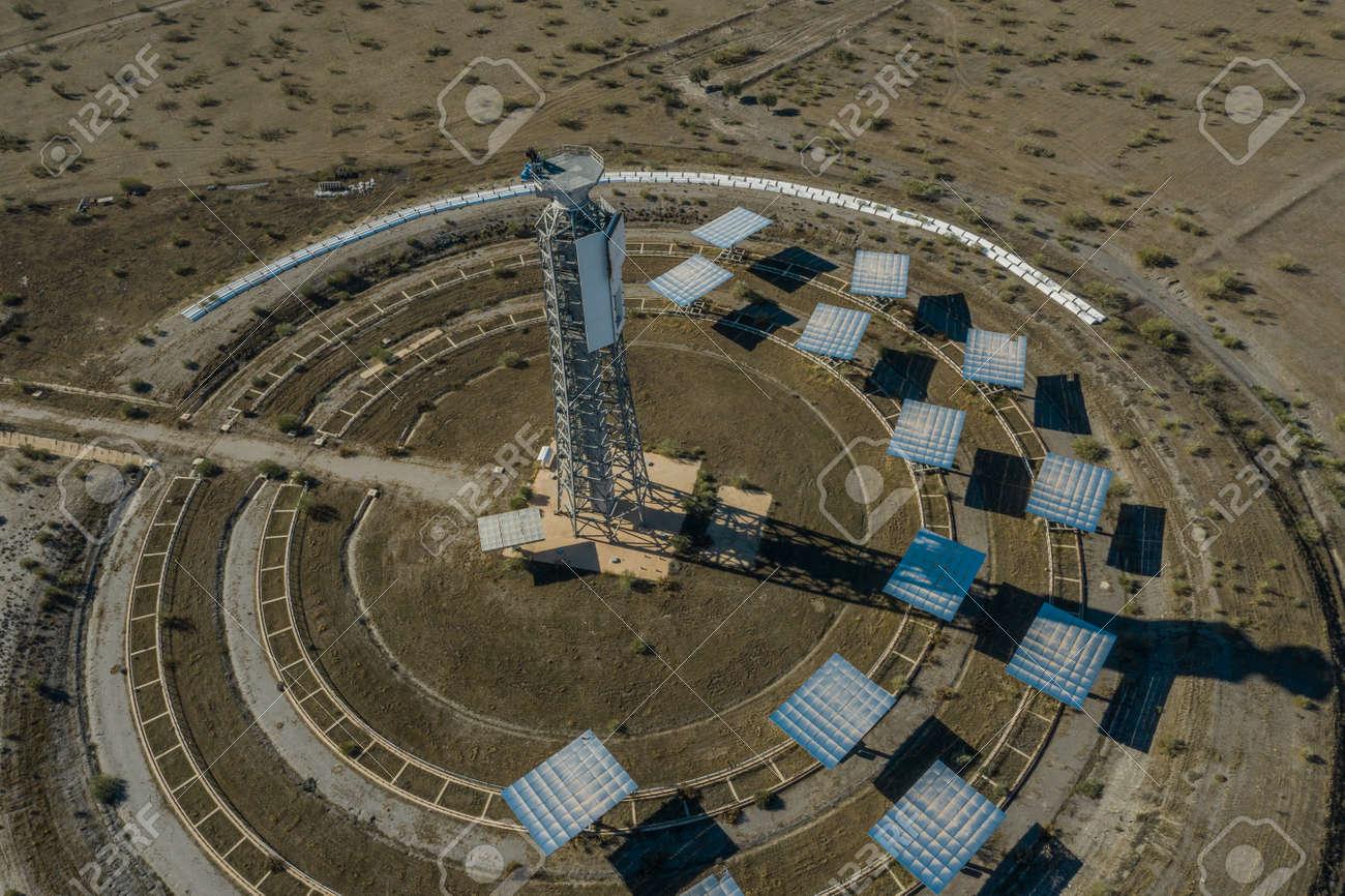 Drone aerial photography of the Plataforma Solar de Almería Center for research into solar energy use - 165012381
