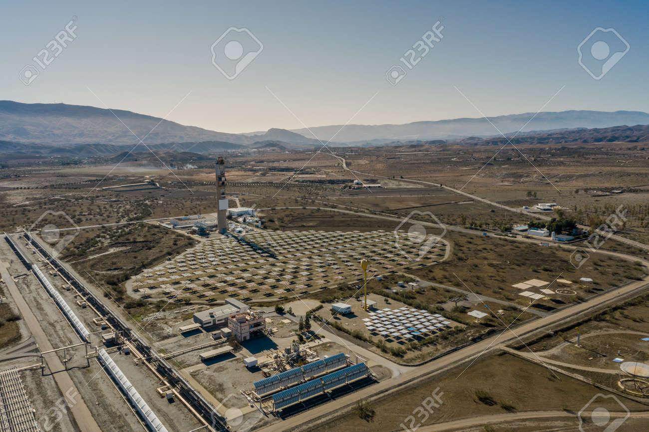 Drone aerial photography of the Plataforma Solar de Almería Center for research into solar energy use - 165012388