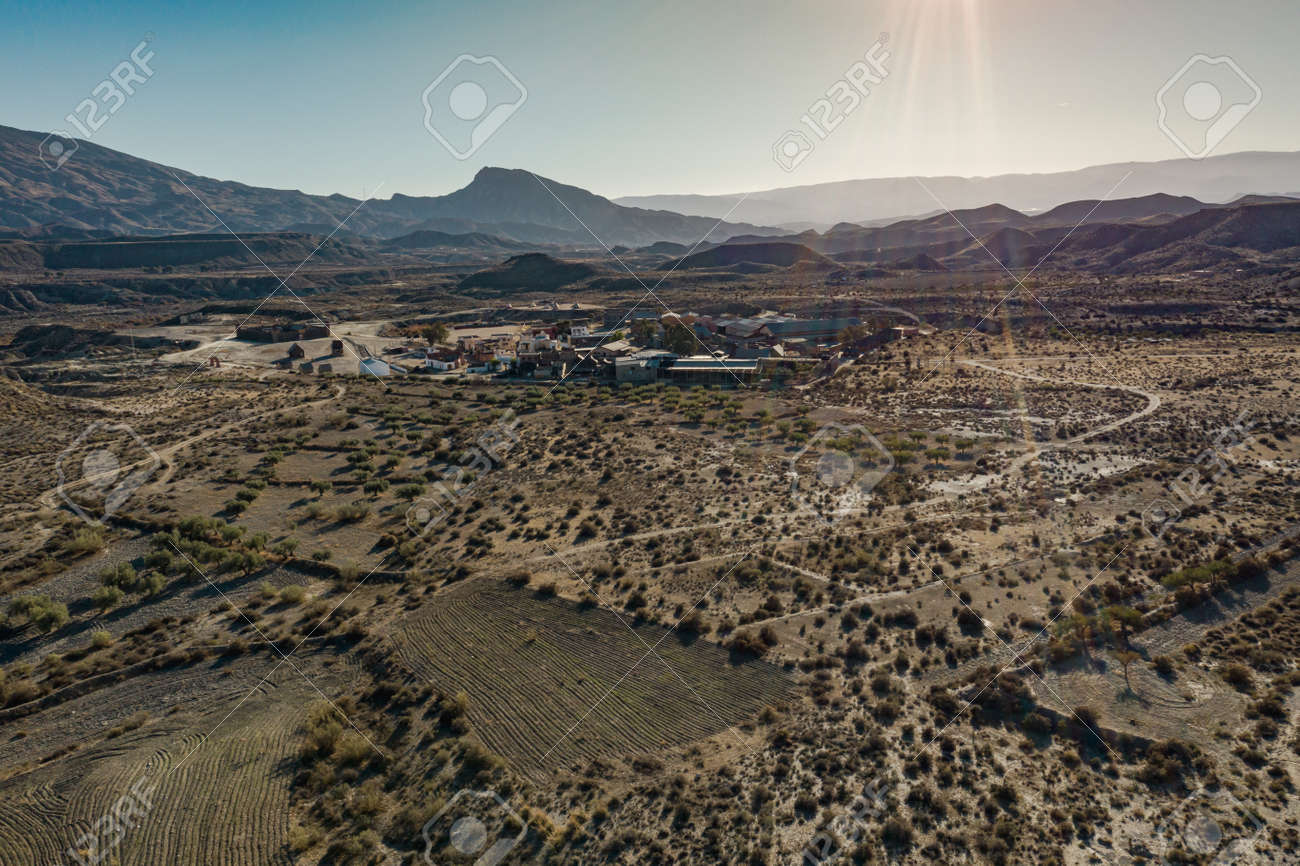 Drone above view of Tabernas Desert Landscape Texas Hollywood Fort Bravo the western style theme park in Almeria Andalusia Spain Europe - 165004143