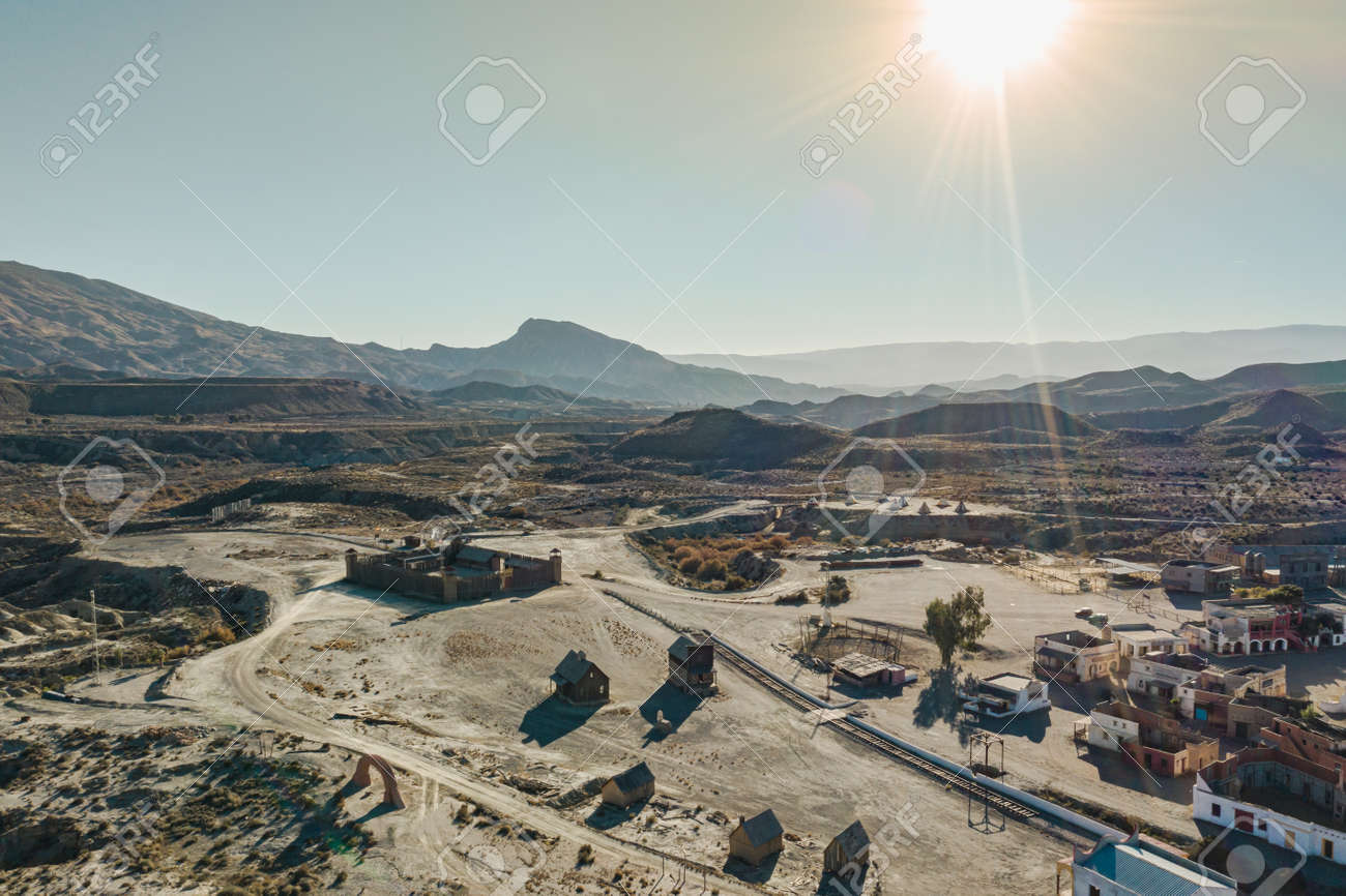 Drone above view of Tabernas Desert Landscape Texas Hollywood Fort Bravo the western style theme park in Almeria Andalusia Spain Europe - 165004154