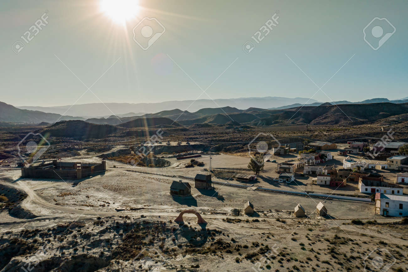 Drone above view of Tabernas Desert Landscape Texas Hollywood Fort Bravo the western style theme park in Almeria Andalusia Spain Europe - 165004156