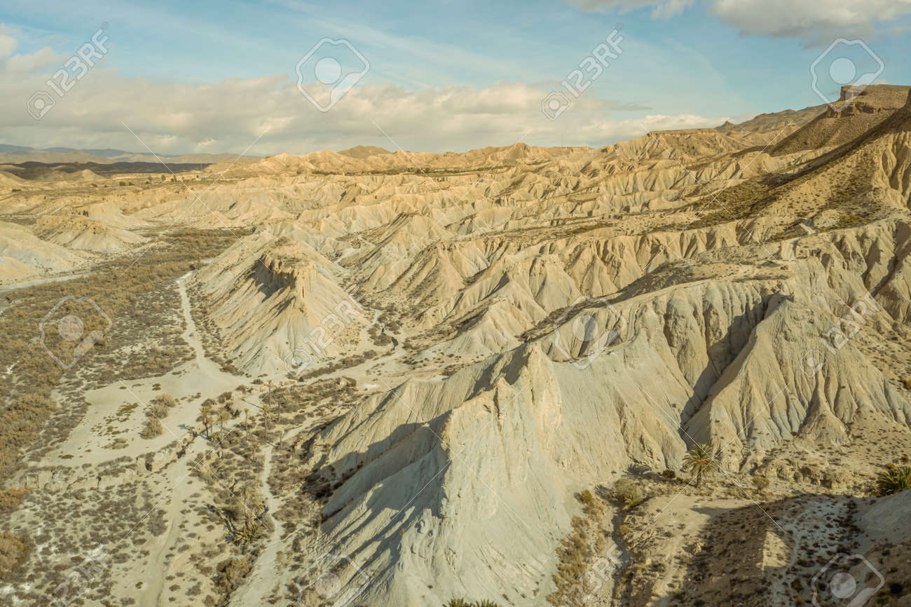 drone Aerial view of Tabernas desert landscape in Andalusia Almeria Spain Only desert in Europe - 165004263