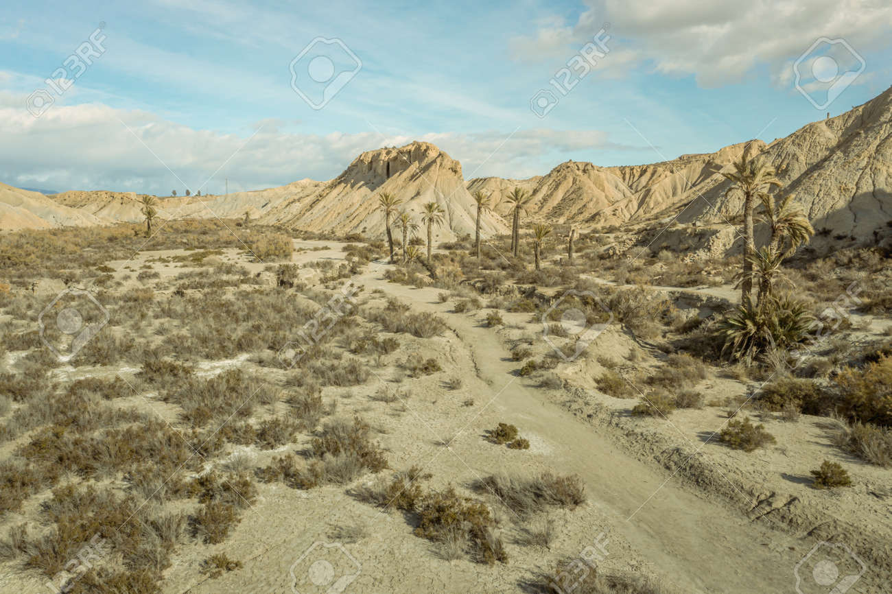 drone Aerial view of Tabernas desert landscape in Andalusia Almeria Spain Only desert in Europe - 165004265