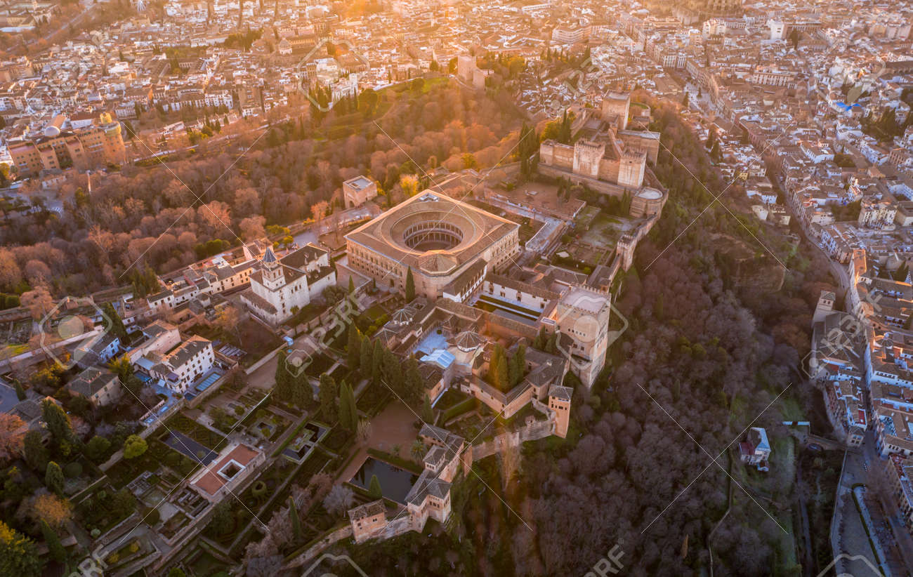 Granada Spain December 2020 Aerial view of the Alhambra Palace in sabikah hill Travel Europe - 165004273