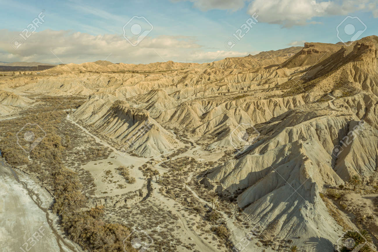 drone Aerial view of Tabernas desert landscape in Andalusia Almeria Spain Only desert in Europe - 165004278