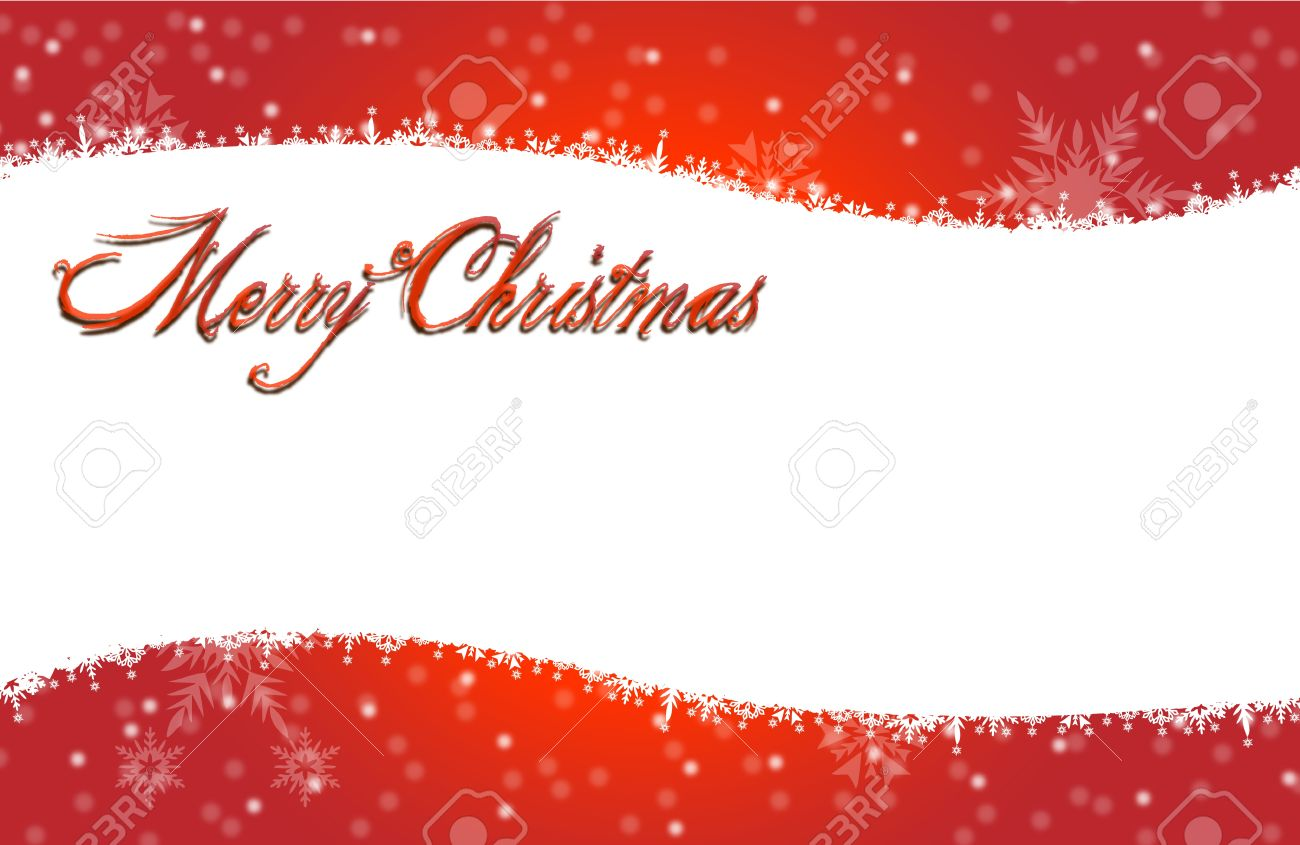 Merry Christmas Card With White Snow Icon On Red BG Royalty Free ...