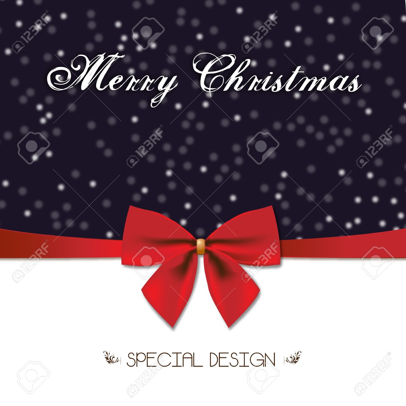Frohe Weihnachten Besonderes Design Und Red Gift Bow Xmas Decoration ...