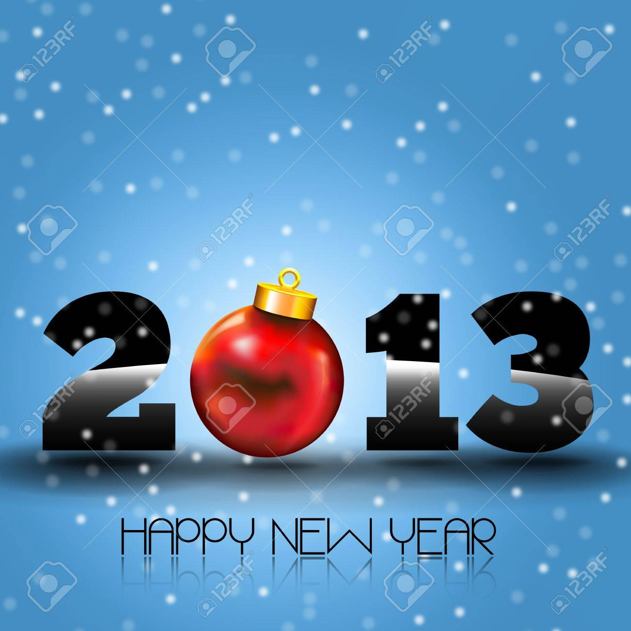 Happy New Year 2013 with Red Christmas Ball  Happy new year s eve with snow and red Xmas Ball Stock Vector - 15974148