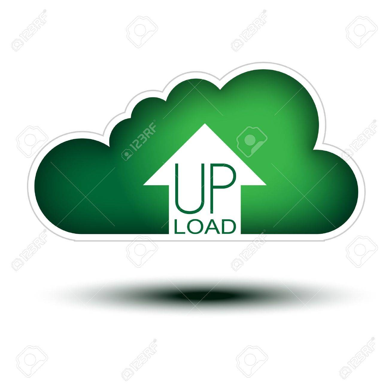 Green Cloud Button Concept for Uploading  Cloud Icon on white background, concept button full sized with an arrow icon to uoload stuffs Stock Vector - 16113393