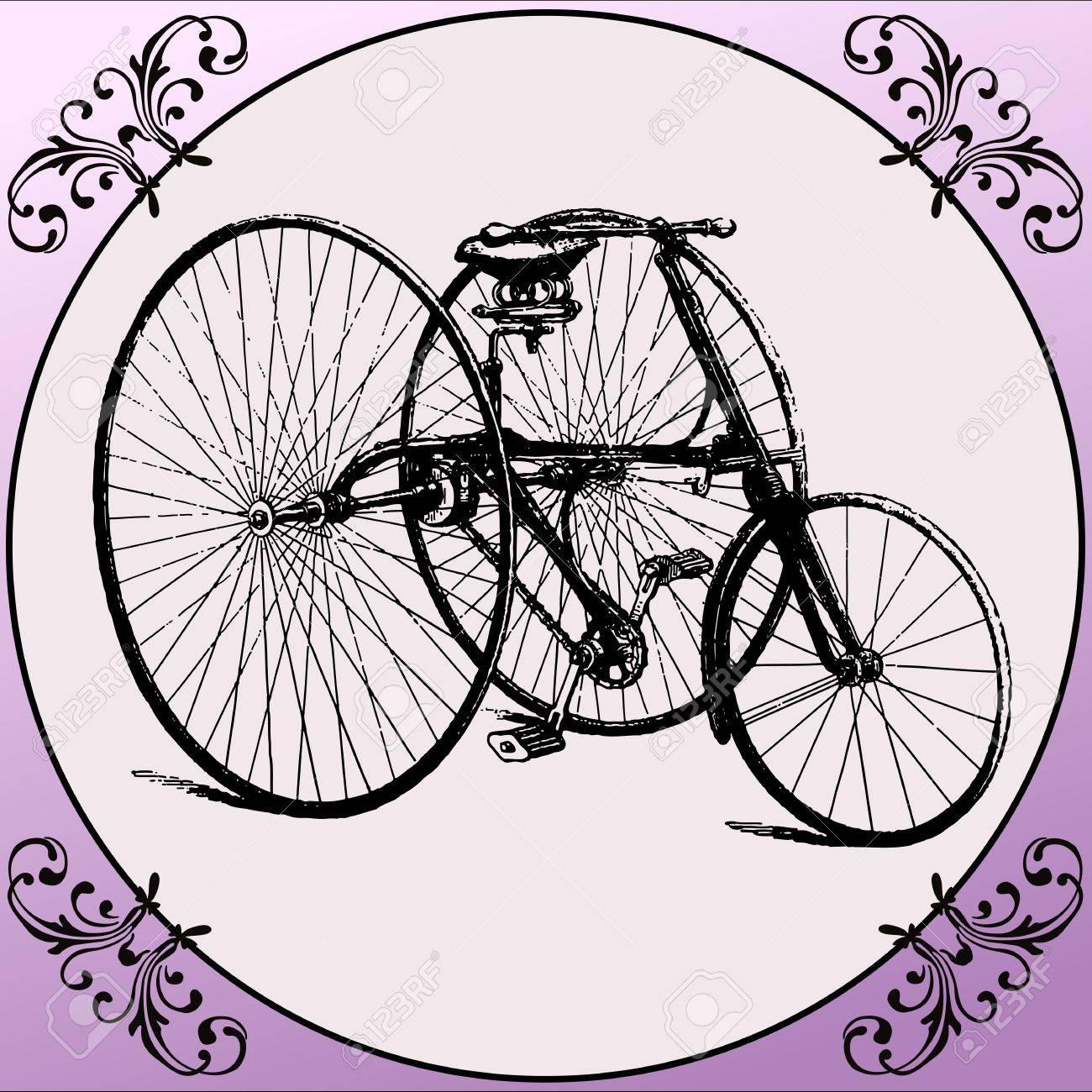 spesso Bicicletta D'epoca Con Tre Ruote All'interno Di Una Bicicletta  SW01