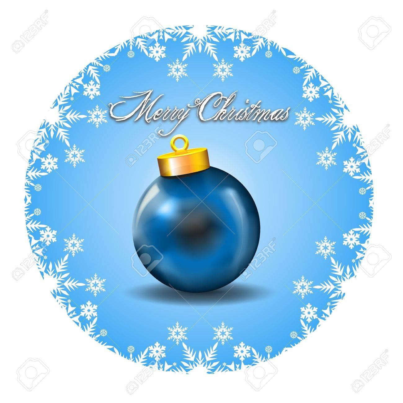 Merry Christmas Decoration with white snow icons and Blue Ball   Merry Christmas Wishes framed by a White Snow Icons decoration in a cyan background with blue ball Stock Vector - 16380802
