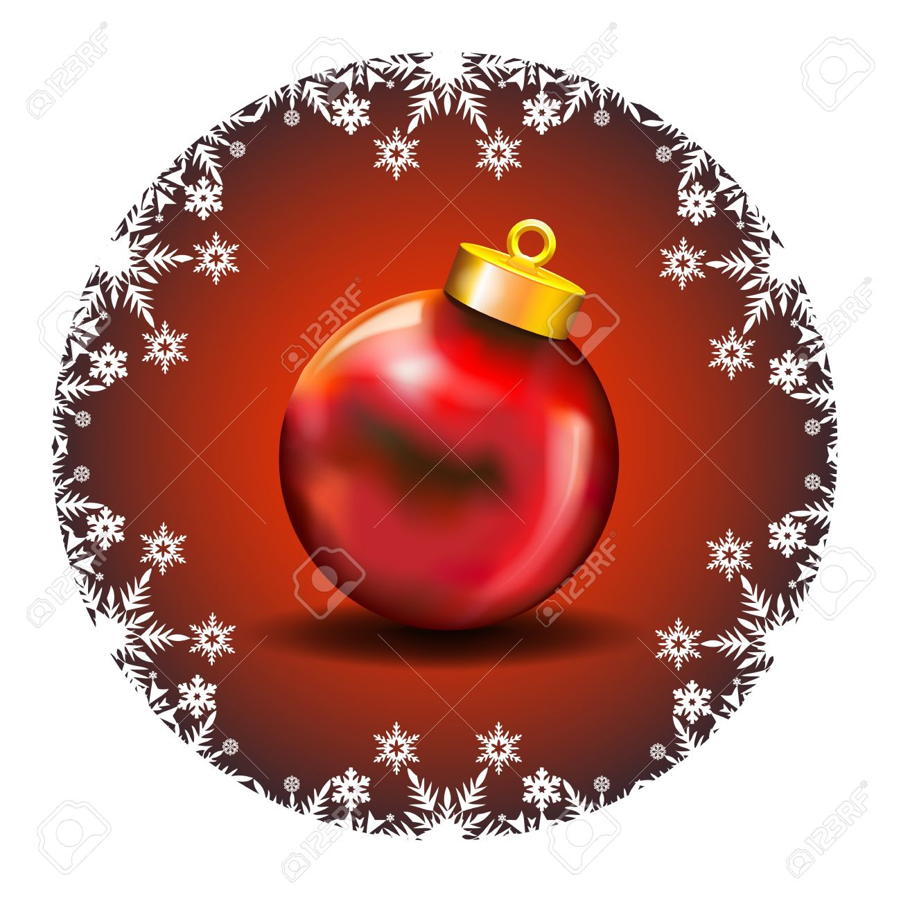 Merry Christmas Decoration with white snow icons and Red Ball   Merry Christmas Wishes framed by a White Snow Icons decoration in a deep red background with red ball Stock Vector - 16380801
