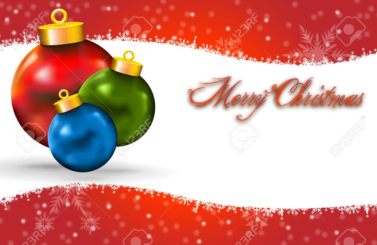 Merry Christmas Card With Snow Icon Decoration And Copy Space ...