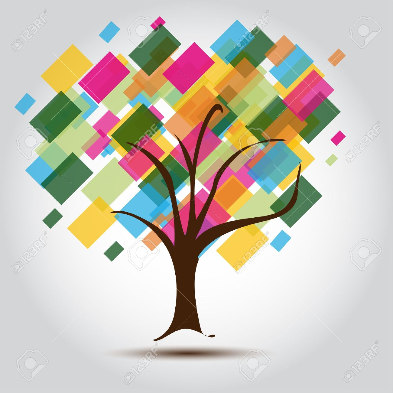 multicolored tree for business card background for stationary