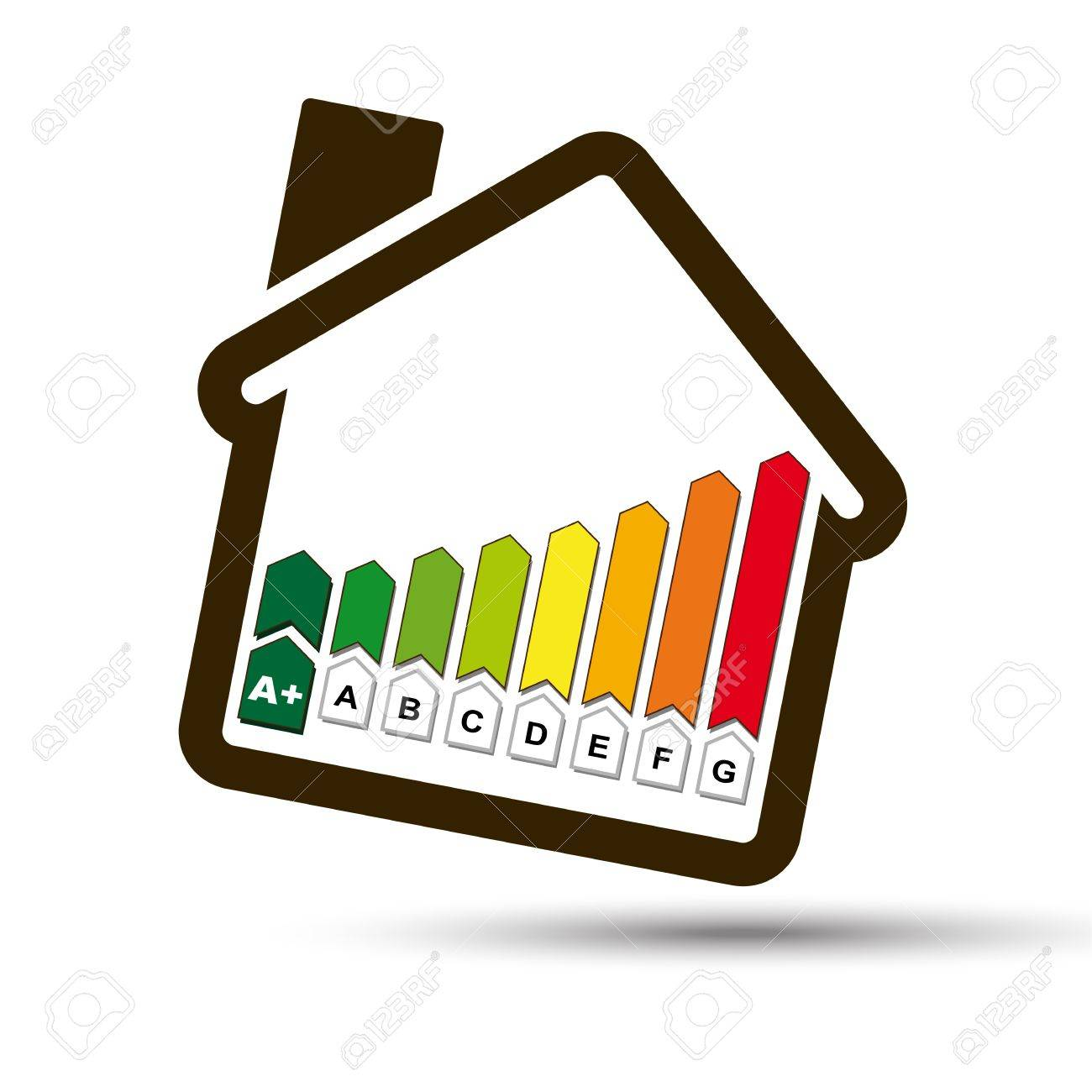 Eco House With Energetic Classes Histogram Symbol Ecological Home, With Energy  Class Icon For Sustainable