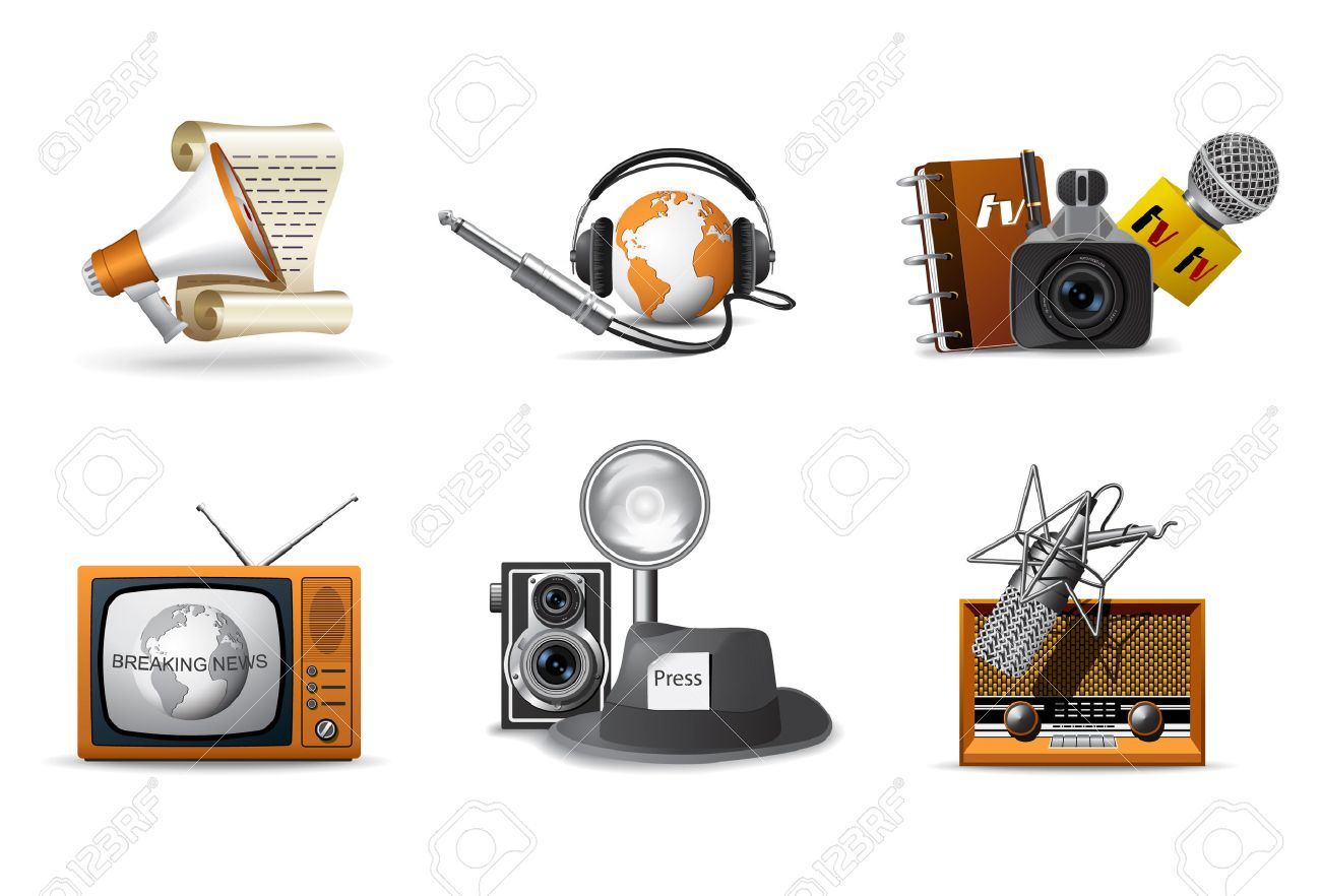 Journalist and press icons Stock Vector - 6685589