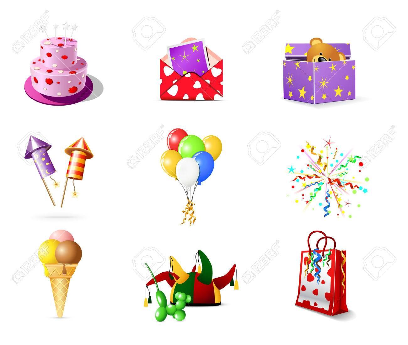 Birthday icons Stock Vector - 6975148