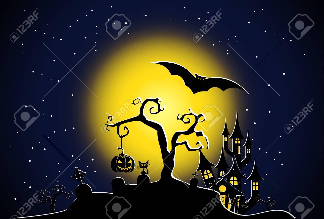 Halloween night scene vector Stock Vector - 7840941