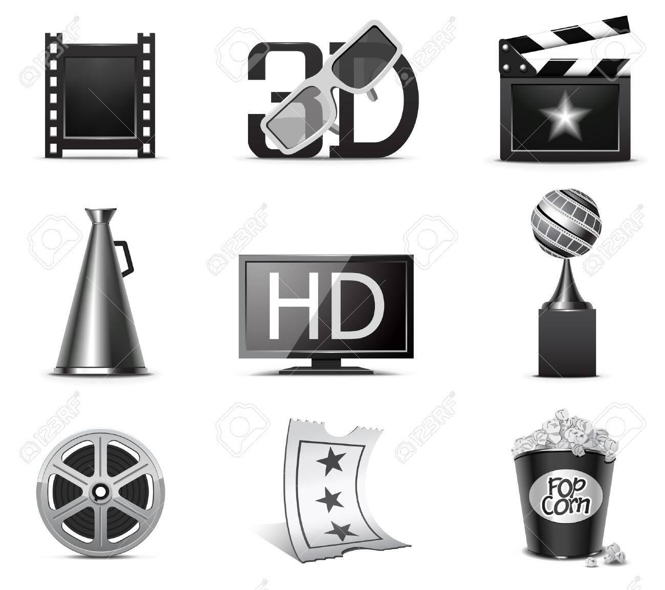 Movie icons | B&W series Stock Vector - 8073624