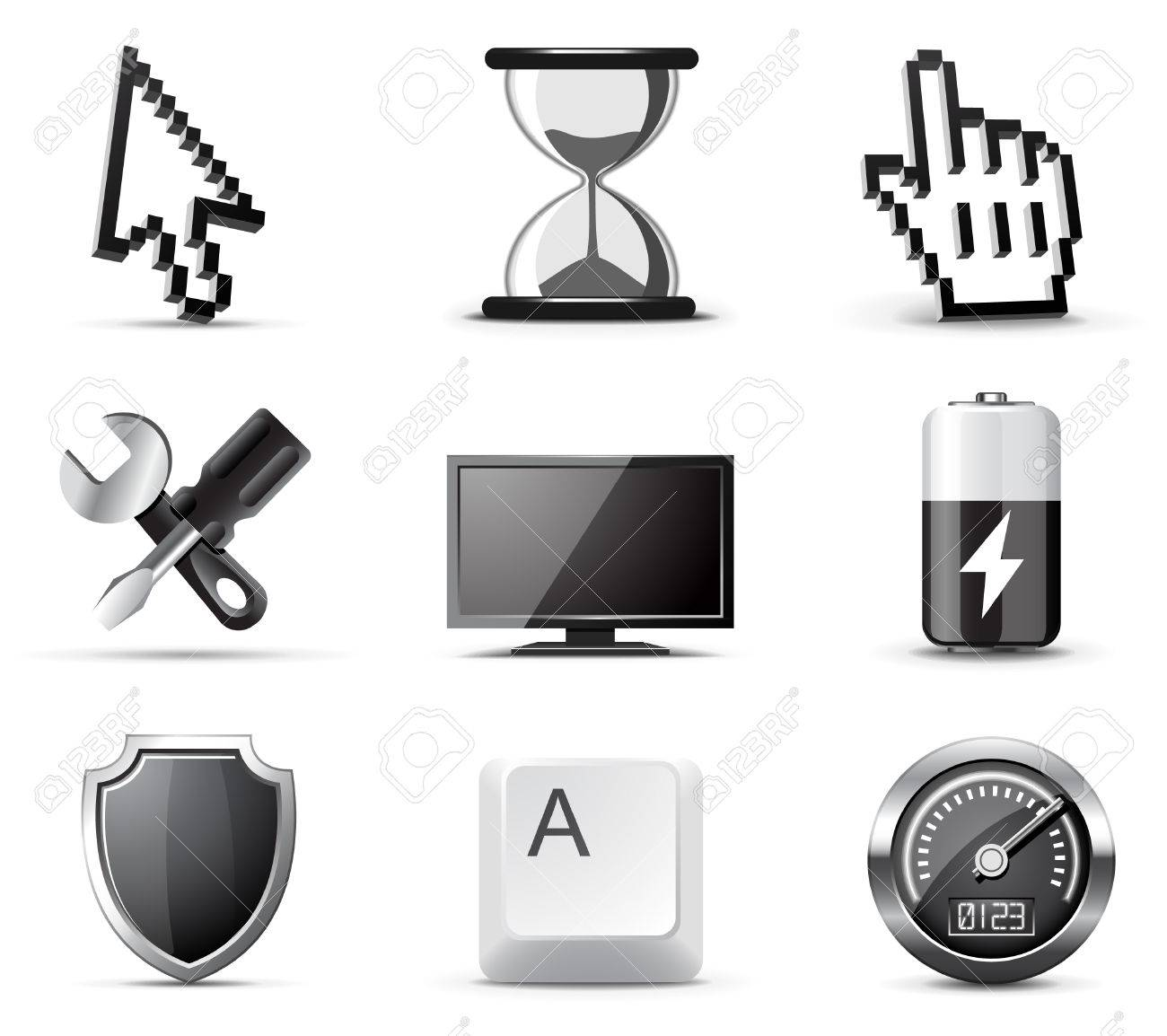 Computer icons | B&W series Stock Vector - 8073620