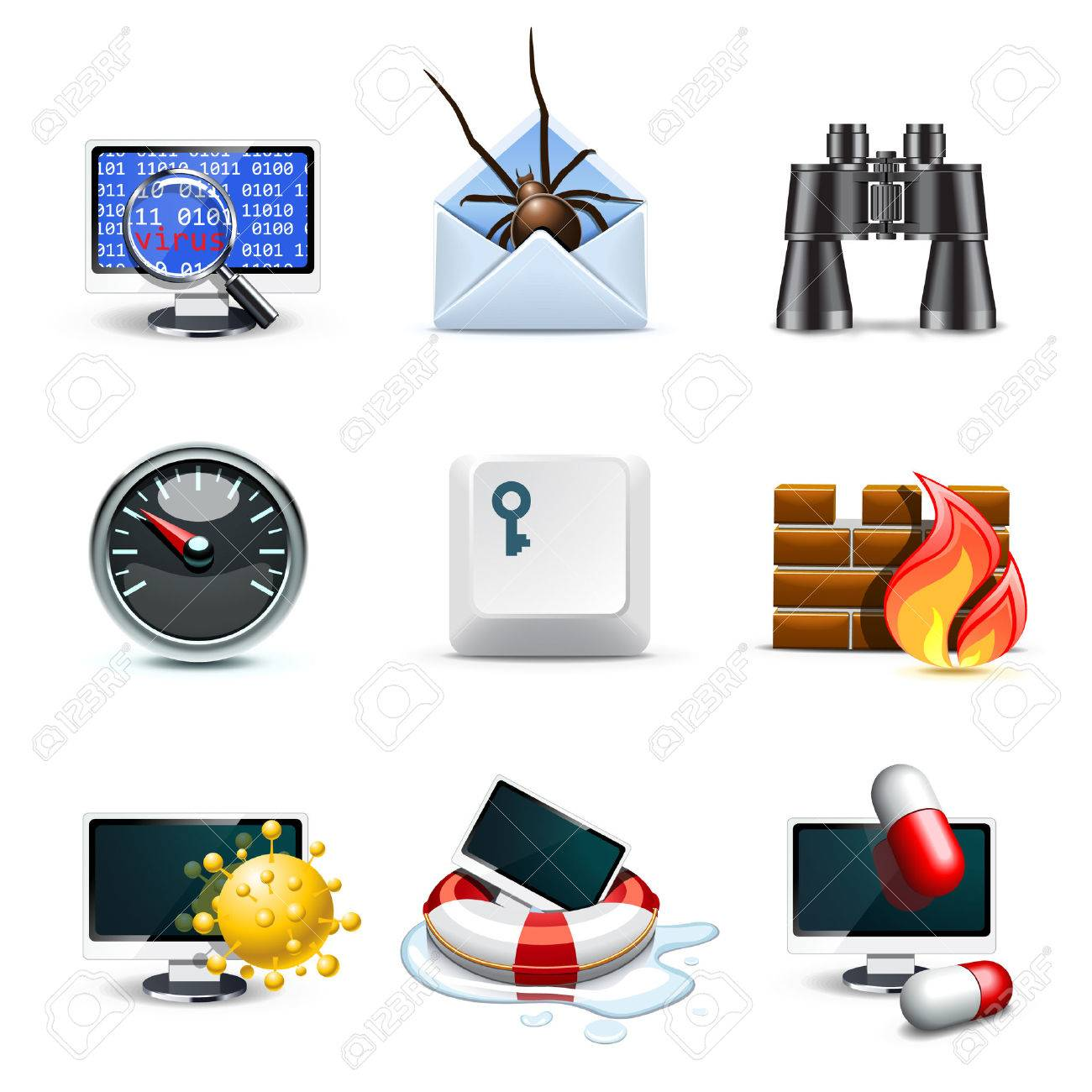 Computer security icons   Bella series Stock Vector - 9134930