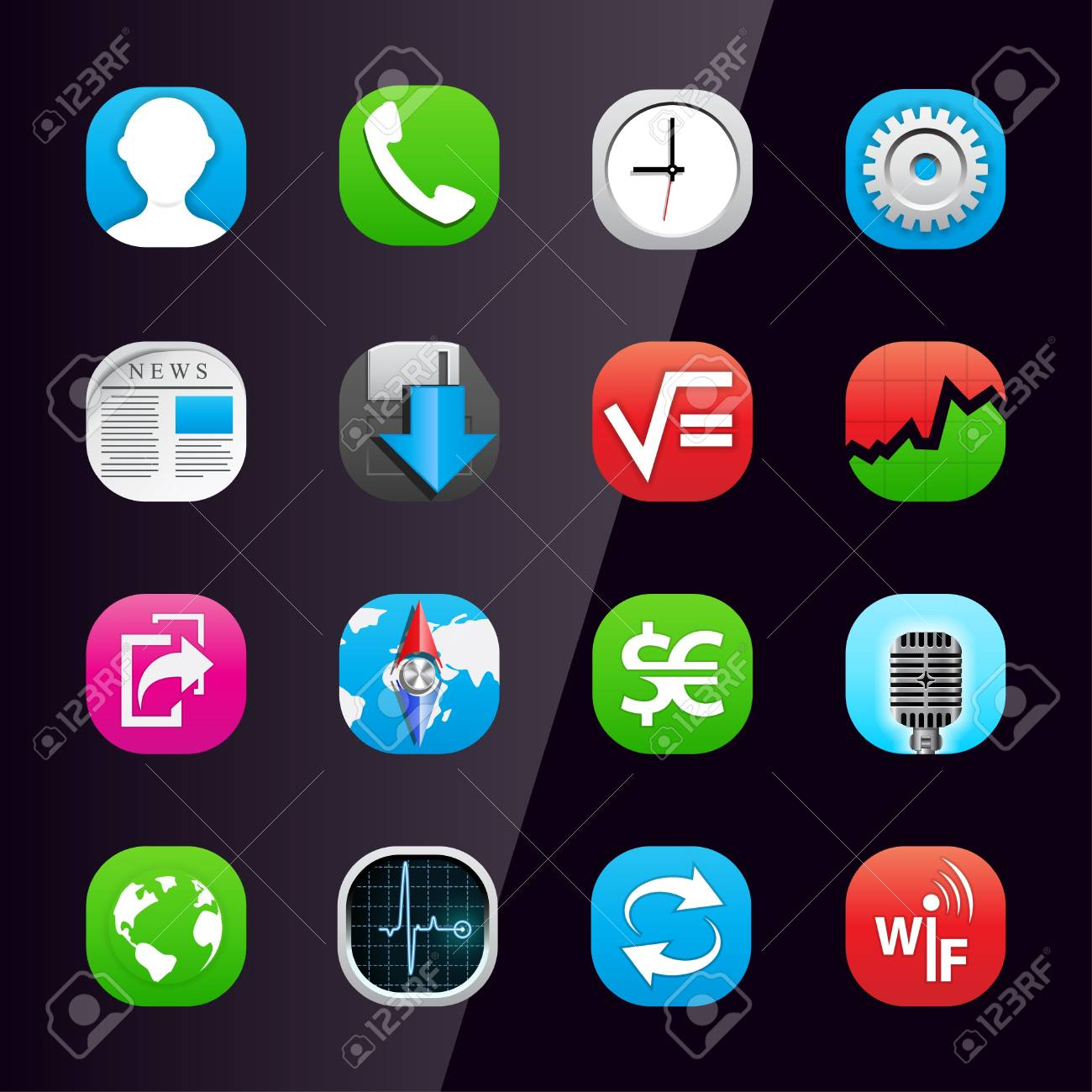 Mobile phone application icons, part 2 Stock Vector - 9935576