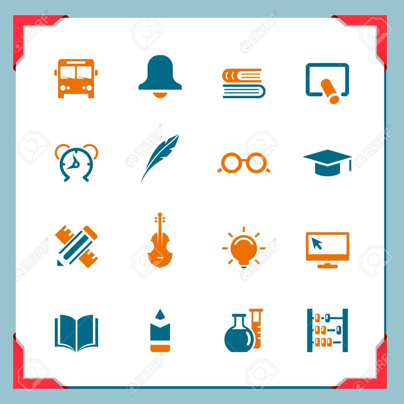 School icons 2   In a frame series Stock Vector - 14372856