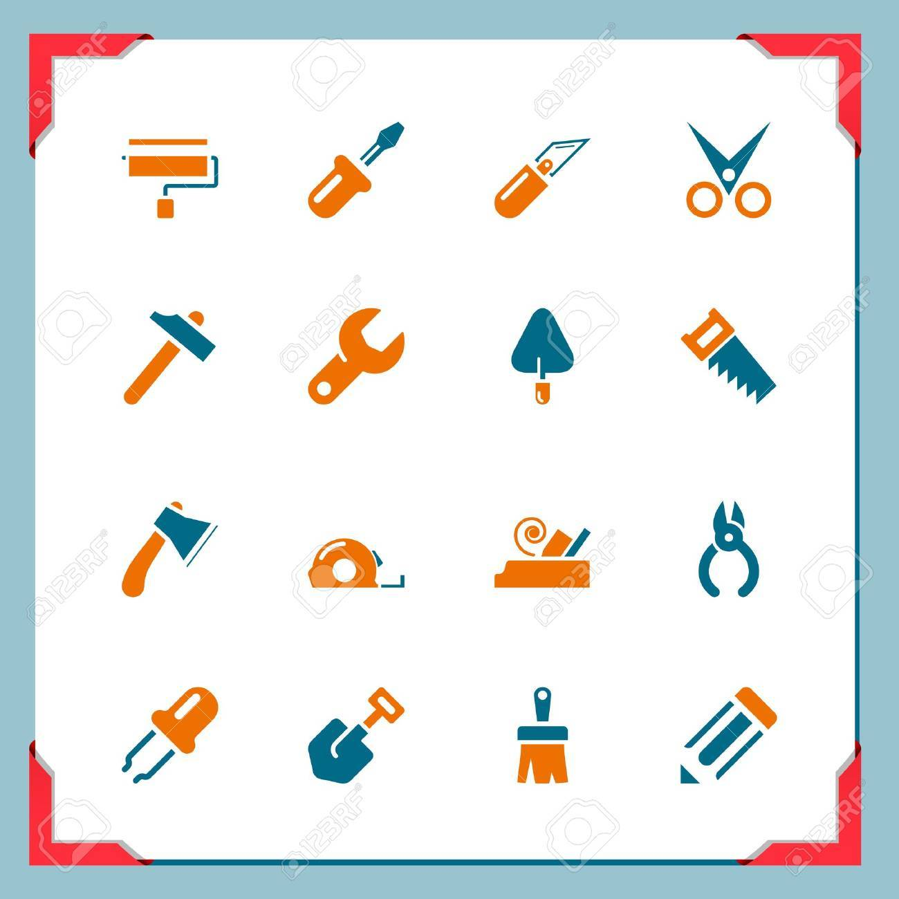 Work tools icons   In a frame series Stock Vector - 15442152