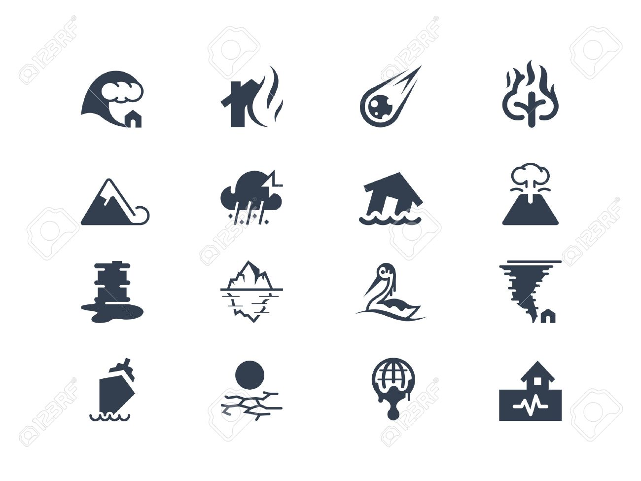 Natural disaster icons Stock Vector - 23755161