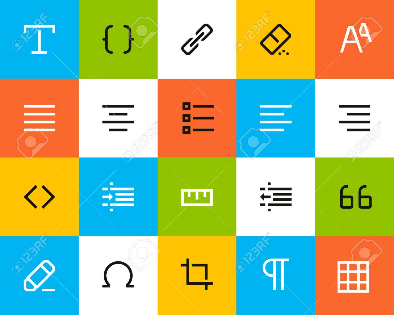 formatting and editing icons flat series royalty free cliparts