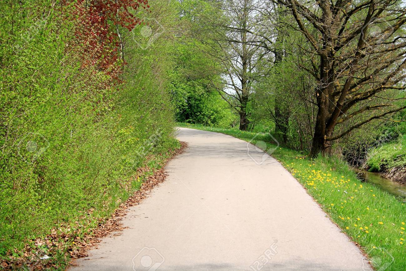 Winding Road In Park Spring As Background Horizontal Stock Photo