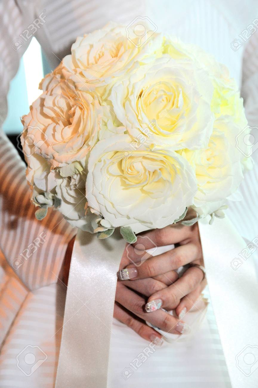 Ball Type Of Roses Wedding Bouquet Decorated With Fresh Flowers ...