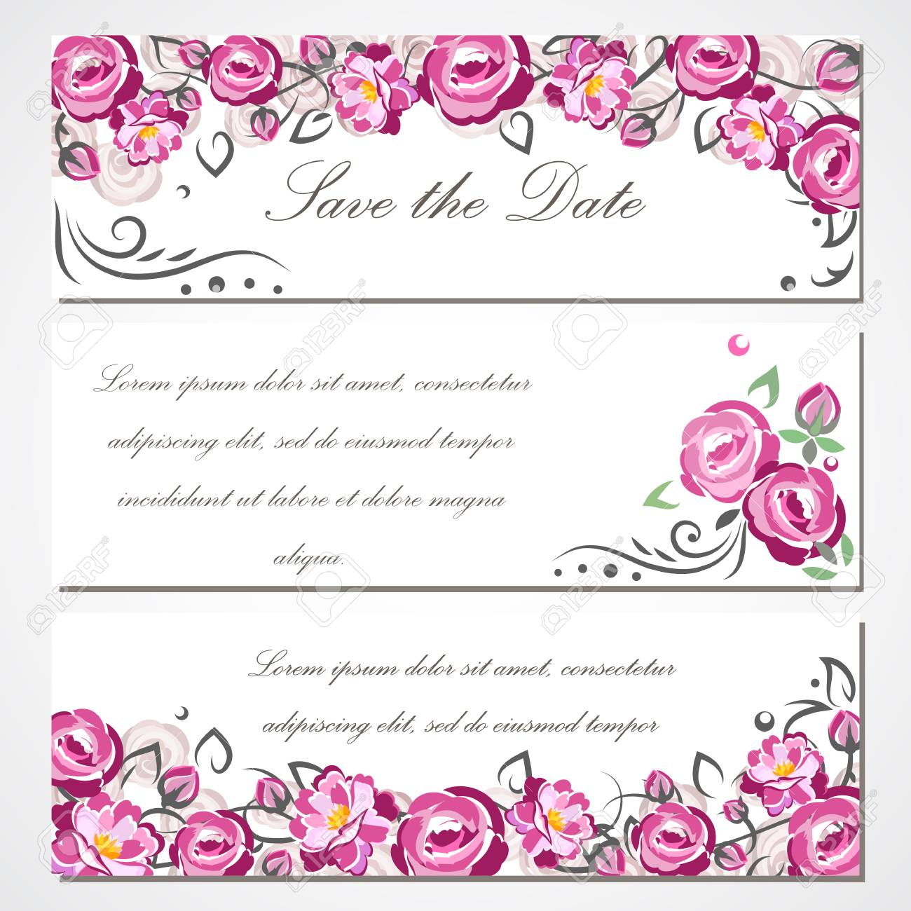 Tarjeta De Invitación Con Rosas Para Boda Matrimonio Cumpleaños Día De San Valentín Para Su Diseño