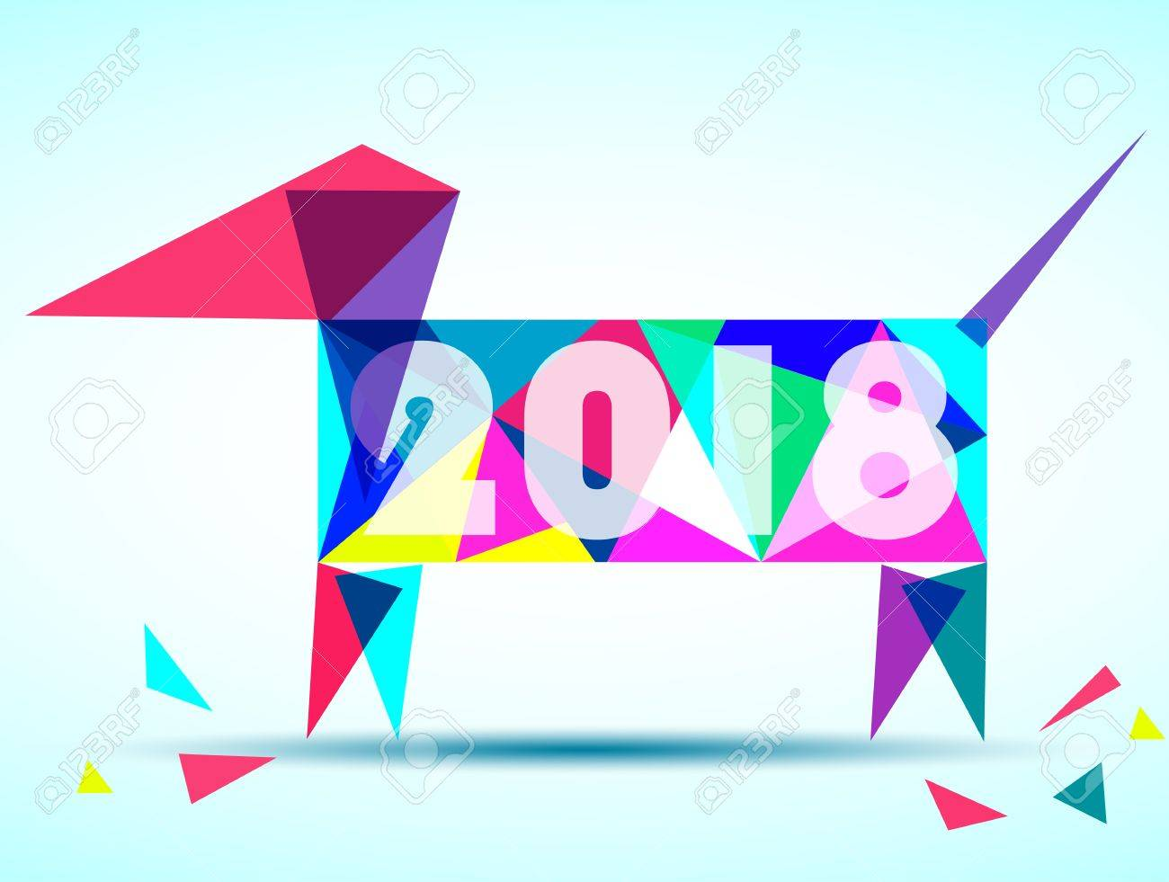 Happy New Year 2018 Year Of Dog Greeting Card Design Vector