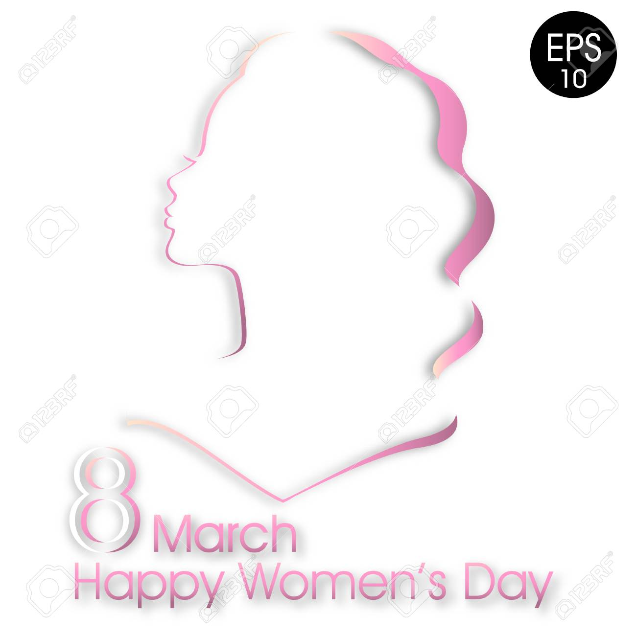 Happy Womens Day Greeting Card Attractive Pink Women Silhouette