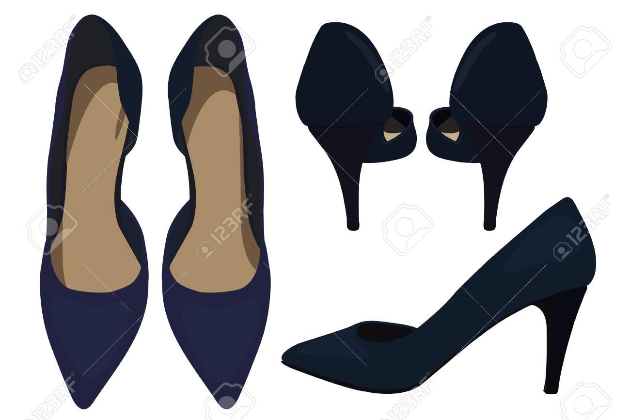 realmente cómodo descuento especial de buscar oficial Vector de los zapatos azul marino, look de moda. Ilustración de zapatos de  tacón alto de la mujer. Dibujo vectorial del look de moda de los zapatos de  ...