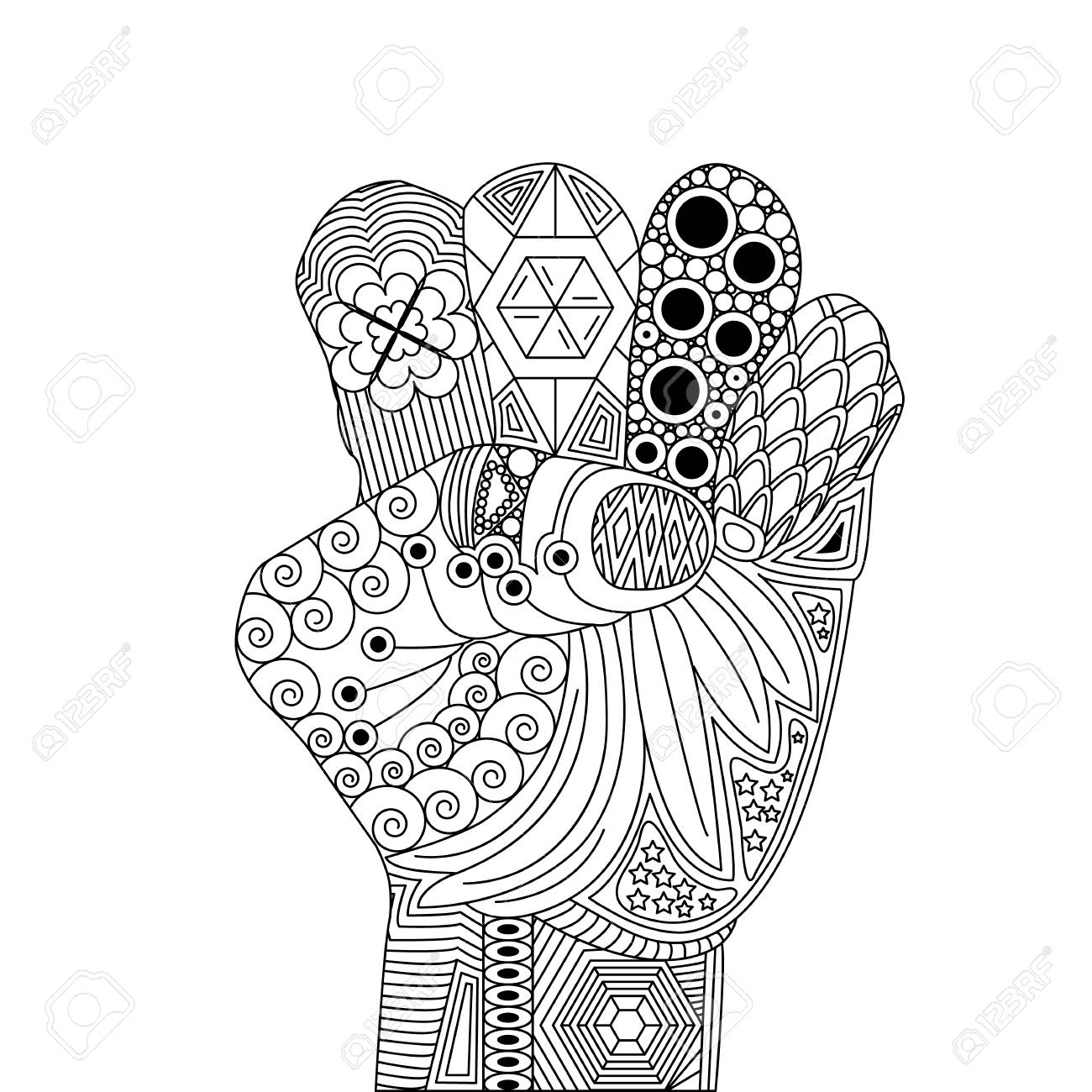 Vector Zen Tangle Palm like For Victory  A Gesture Luck  Zen