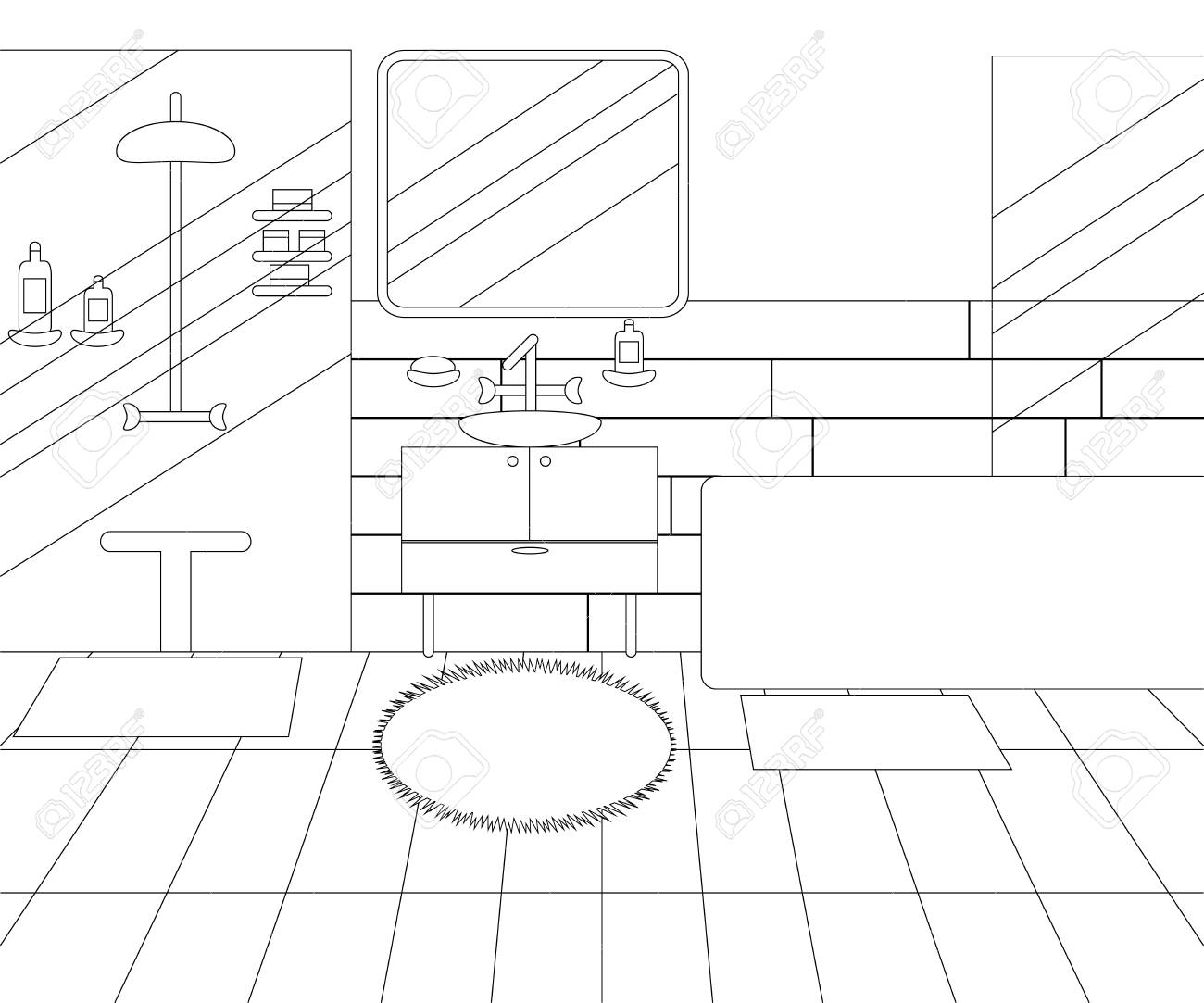 Vector Line Illustration of Interior of Bathroom with Furniture. Whire and Black Outline Sketch of Home Related. Vector Design in Line Art Style. Design of Modern Interior of Bathroom - 122814185